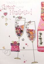 Wedding Day wishes Sister & your Husband greeting card, Champagne theme, new