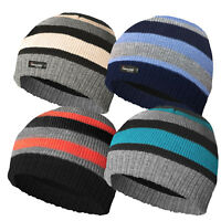 BOYS KIDS THINSULATE LINED KNITTED STRIPED WINTER WARM BEANIE MULTI COLOUR HAT