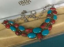 """VINTAGE TURQUOISE NECKLACE 18"""" SOLID 925 STERLING SILVER CORAL"""