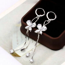 18K White Gold F Butterfly Chandelier Earrings Made With Swarovski Crystals