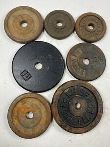 "( 10 , 5 , 3 Lb ) 1"" Hole Cast Iron Weight Plates Rusted ( 41 Total Lbs )"