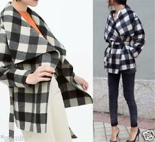ZARA HAND MADE CHECKED WOOL JACKET CAPE COAT KIMONO WOLLE JACKE MANTEL SIZE M
