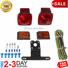 Rear Submersible Trailer Tail Lights Kit Boat Marker Truck Round Waterproof