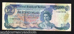 BELIZE 100 DOLLARS P50 1983 QUEEN BIRD LIZARD FISH RARE CARIBBEAN MONEY BANKNOTE