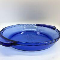 "Anchor Hocking Blue 9"" Deep Dish Pie Pan w Handles FLUTED Cobalt Blue Vintage"