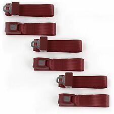 Early Cars 1941 - 1948 Standard 2pt Burgandy Lap Bench Seat Belt Kit - 3 Belts