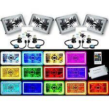 "4X6"" RF Color Change RGB SMD Halo Angel Eye Headlight 4000Lm LED Light Bulbs Set"