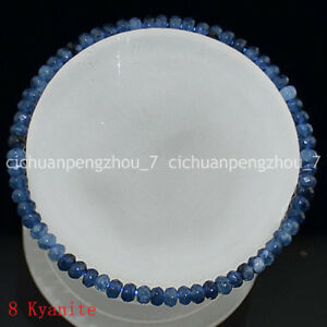 Faceted 2x4mm Multicolor Jade/Agate/Gems Rondelle Beads Elastic Bracelet 7.5''