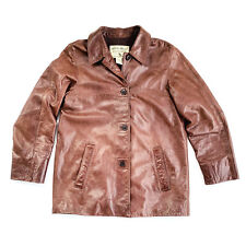Eddie Bauer Brown Leather Button-Up Jacket Womens Size Small