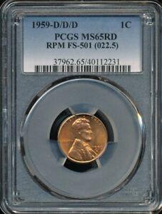 1959-D/D/D Lincoln Cent RPM FS-501 (022.5) PCGS MS 65 RD *Triple Mint Mark!*