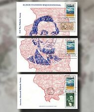 US FDC #1339 ILLINOIS STATEHOOD Wonderful Lincoln in 3 Panels 10/24/68