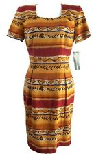 Maggy London Womens Dress Yellow Southwestern Cotton Linen New with Defect Sz 8