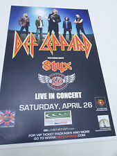 """Def Leppard w/ STYX Band Concert Poster San Diego Coors Amphitheatre 11""""x17"""""""