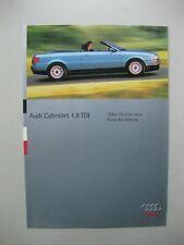Audi 1.9 TDI Cabriolet folder brochure Prospekt German text Deutsch 6 pages 1995