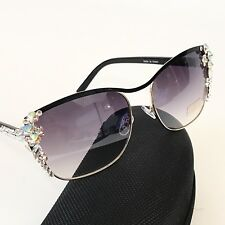 Swarovski Crystal Embellished Designer Sunglasses Aurora Borealis Gold and Black