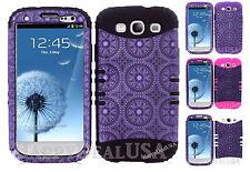 KoolKase Hybrid Silicone Cover Case for Samsung Galaxy S3 - Circular Purple