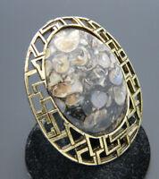 Black Purple Tan Fossil Stone Gold Tone Pendant Necklace Pin Brooch Vintage