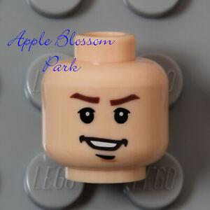 LEGO Light FLESH MALE MINIFIG HEAD Indiana Jones Boy White Teeth Mutt Smile Grin