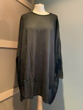 QED London Black Oversized Jumper Size S/M Sheer