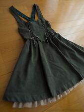 Secret Honey Suede 2 Lace-up Ribbon JSK Jumper Dress Sweet Lolita Kawaii Japan