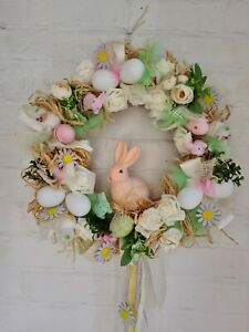 Beautiful Handmade Easter Wreath Large 50 Cm pastel colours with flocked bunnies