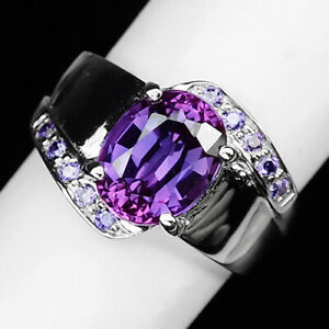 SAPPHIRE BLUE PURPLE 3.10CT.AMETHYST 925 STERLING SILVER RING SZ 5.25 ENGAGEMENG