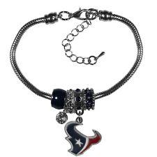 Houston Texans Euro Bead Bracelet NFL Football Licensed Product Logo Charm