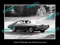OLD POSTCARD SIZE PHOTO OF 1968 PONTIAC GTO HARDTOP COUPE LAUNCH PRESS PHOTO 1