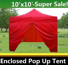 10'x10' Enclosed Pop Up Canopy Party Folding Tent Gazebo - Red - E Model