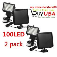 2X 100 LED Solar Powerd Motion Sensor Lights Security Flood Lamps Garden Outdoor