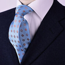 "Lucky 8 Pedal Compound Layered Light Blue Luxury Fashion Skinny Tie 3"" Necktie"