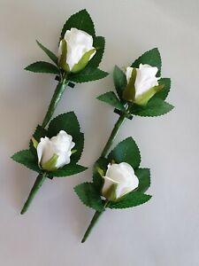 Set of 4 Artificial Silk White Rose Wedding Bridal Flower Buttonholes