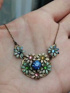 Vintage Gilt Enamel Multicoloured Glass Panel Necklace. Czech? Flowers. Filigree