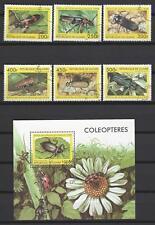 Insectes Guinée série complète et bloc correspondant oblitérés (3)