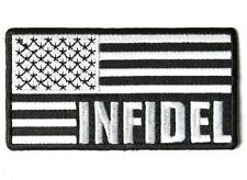 "(G45) INFIDEL B & W AMERICAN FLAG 3.75"" x 2"" iron on patch (4085) Biker"