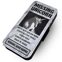Missing Unicorn -Faux Leather Flip Phone Cover Case- Glitter Sparkles Rainbow