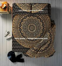 Black Gold Ombre Mandala Doona Cover Hippy Duvet Cover Indian Bedspread 4 PC Set