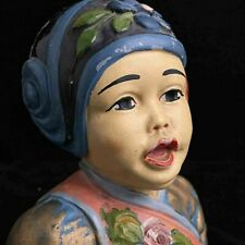 "Esther Hunt style 1920s chalkware bust of ""China Boy"" marked Leon Fighiera"