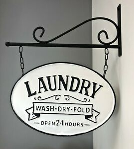 """Silvercloud Trading Co. Rustic Hanging Double-Sided OVAL """"LAUNDRY"""" Embossed SIGN"""