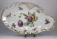 Antique 1886-1910 RL Dresden Charles Ahrenfeldt Handpainted Flowers Celery Dish