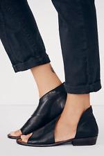 Free People Mont Blanc Black Cutout Leather Peep Toe Flats Size 40