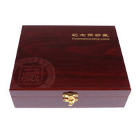 1x Superb Wooden Coin Box Storage Holder Display Case 46mm Sized Collection