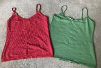 2x Oasis Vest Tops Red Spotty Green Uk Size 12 VGC !