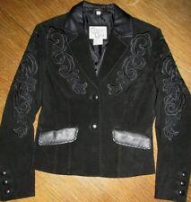 Womens S Small Cripple Creek Leather Western Jacket Coat Blazer Black