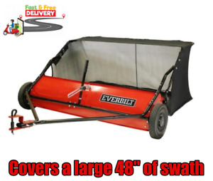 """Lawn Leaf Sweeper Tractor Tow Behind Grass Catcher Rust-Ressitant 48"""" 15 Cu. Ft."""