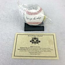 NEW George Sisler Baseball W/ Record History, Picture, Replica Autograph & Stand