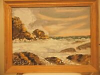 "Vintage Oil Painting Seascape Signed J. DuBois Framed  18"" x 24"""