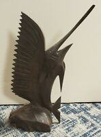 Vintage Circa 1970 Sailfish Hand Carved Ironwood Sculpture
