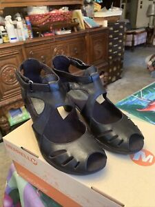 Merrell Women's Evera Shift Leather Cycling Shoes Sandals Heels Size 8.5
