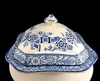 """WOOD & SONS WOODS WARE WINCANTON BLUE 9 1/4"""" COVERED VEGETABLE DISH 1917-1930"""
